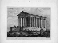On y voit des arpenteurs en costume d'Ancien régime prendre les mesures du monument.