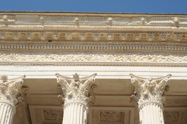 Architectural Decoration Is Concentrated In The Upper Part Of Building Corinthian Capitals Support An Entablature Consisting Architrave
