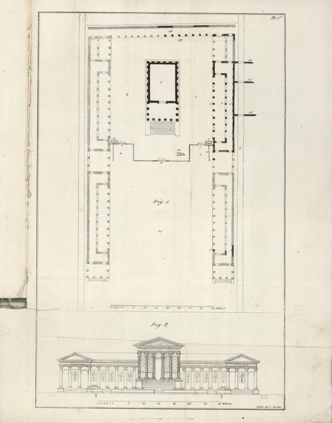 Plan d'ensemble et coupe sur la largeur du Forum