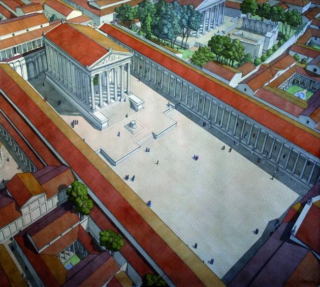 Reconstitution de la Maison Carrée dans son contexte antique