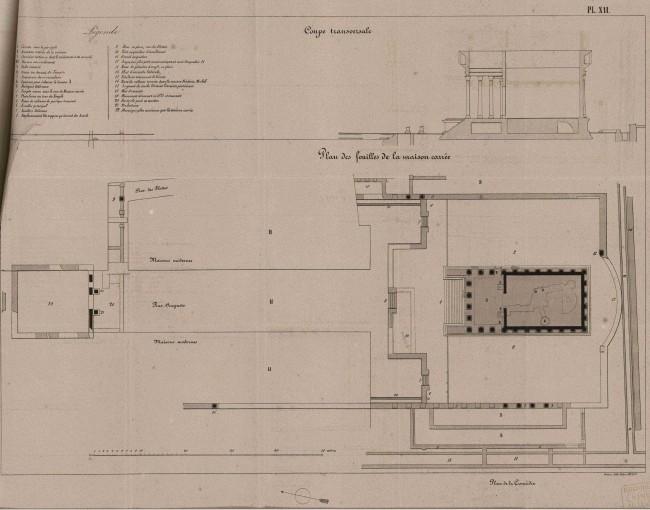 Plan des fouilles de la Maison carrée